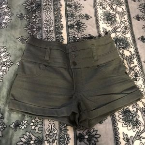 Soft green button up shorts